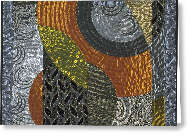 Abstract Quilt Tapestries - Textiles Greeting Cards - Nocturne2 Greeting Card by Marilyn Henrion