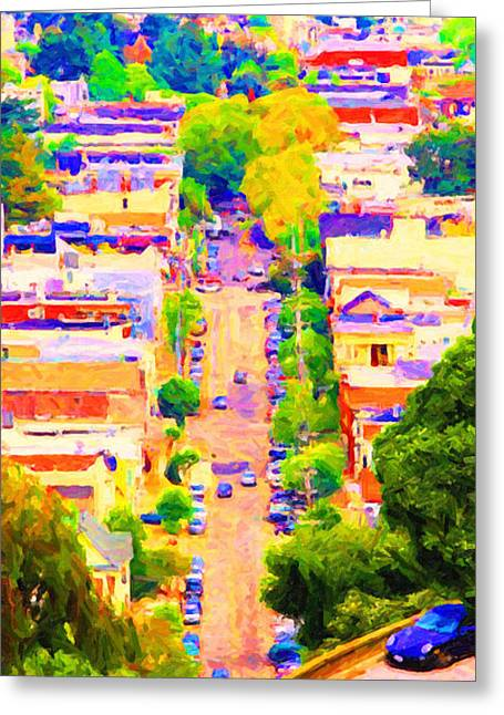 Eureka Valley Greeting Cards - Noe Street in San Francsico 2 . Long Cut Greeting Card by Wingsdomain Art and Photography