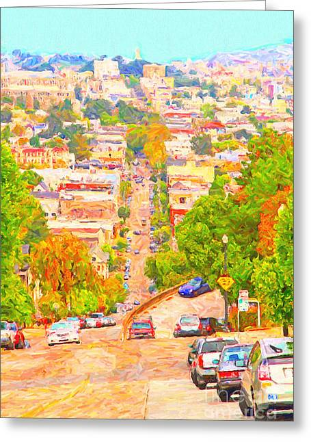 Castro Greeting Cards - Noe Street San Francisco Greeting Card by Wingsdomain Art and Photography