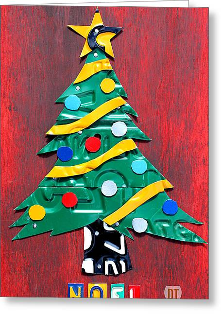 Holiday Decoration Greeting Cards - Noel Christmas Tree License Plate Art Greeting Card by Design Turnpike