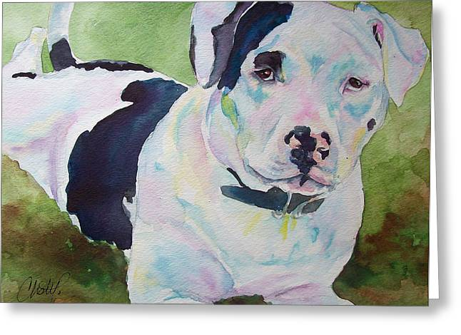 Bully Paintings Greeting Cards - Noelle Lilos Promise Greeting Card by Christy  Freeman
