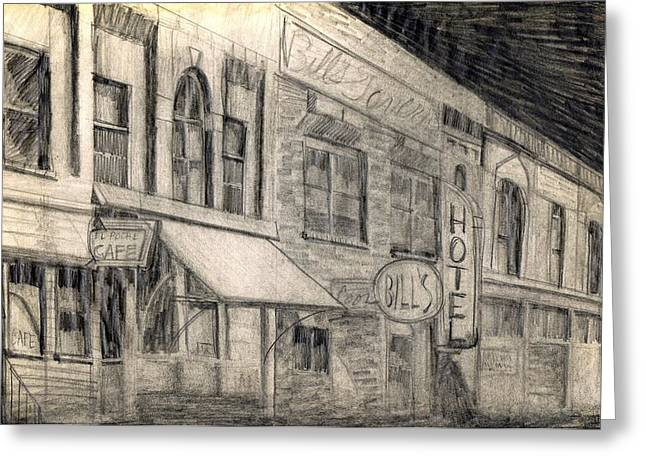 Film Noir Drawings Greeting Cards - Noir Street Greeting Card by Mel Thompson