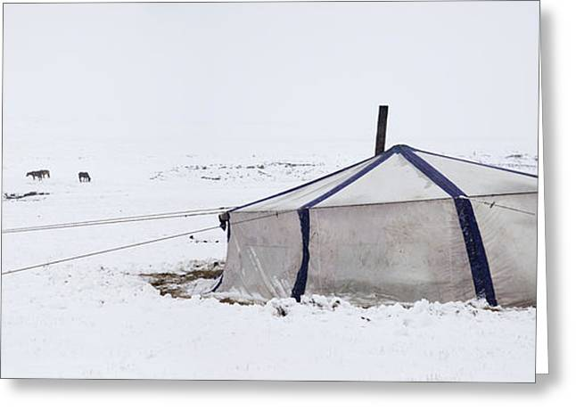 Winter Scenes Rural Scenes Greeting Cards - Nomadic Pastoralist Dwelling. Yurt Greeting Card by Phil Borges