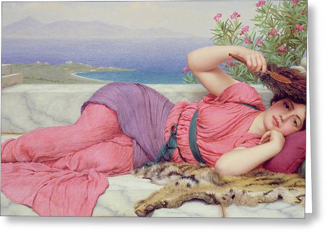 Recently Sold -  - Lounge Paintings Greeting Cards - Noon Day Rest Greeting Card by John William Godward