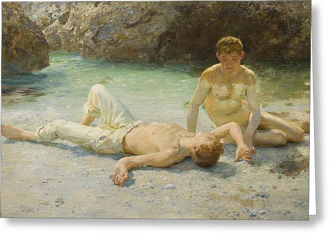 Outdoors Paintings Greeting Cards - Noonday Heat Greeting Card by Henry Scott Tuke