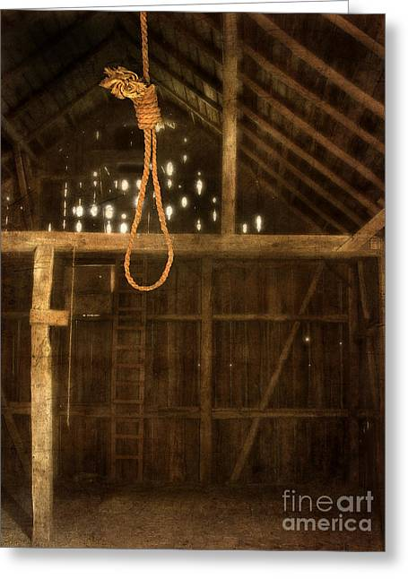 Noose Greeting Cards - Noose Hanging in an old Barn Greeting Card by Jill Battaglia