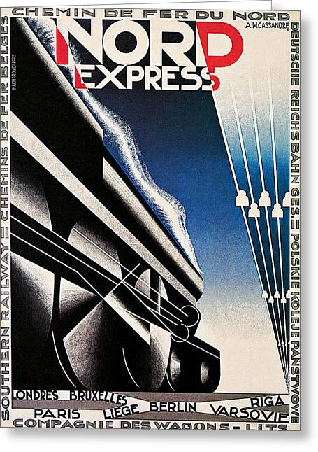 Express Paintings Greeting Cards - Nord Express Greeting Card by A M Cassandre