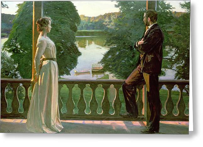 Nordic Greeting Cards - Nordic Summer Evening Greeting Card by Sven Richard Bergh
