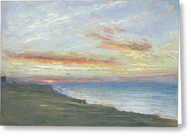 Norfolk Greeting Cards - Norfolk Coast Greeting Card by Albert Goodwin