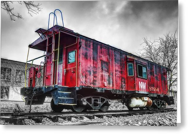 Caboose Greeting Cards - Norfolk Western Caboose 57558 Greeting Card by Steve Hurt