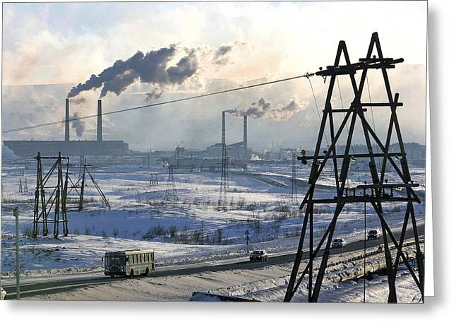 Power Plants Greeting Cards - Norilsk Industrial Centre, Russia Greeting Card by Ria Novosti