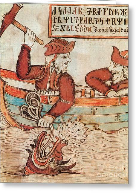 Norse Mythology Greeting Cards - Norse Mythology Thors Fishing Trip Greeting Card by Photo Researchers