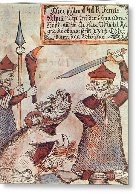 Norse Mythology Greeting Cards - Norse Mythology Tyr Loses A Hand Greeting Card by Photo Researchers