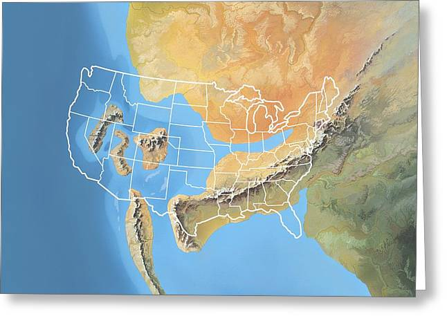 Geomorphology Greeting Cards - North America, Permian Period Greeting Card by Gary Hincks