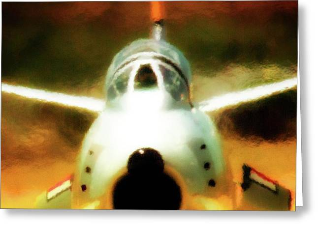 Planes Of Fame Greeting Cards - North American F86 Sabre Dont Move 2011 Chino Air Show Greeting Card by Gus McCrea
