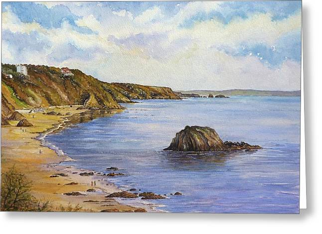 Ocean Shore Drawings Greeting Cards - North Beach Greeting Card by Andrew Read
