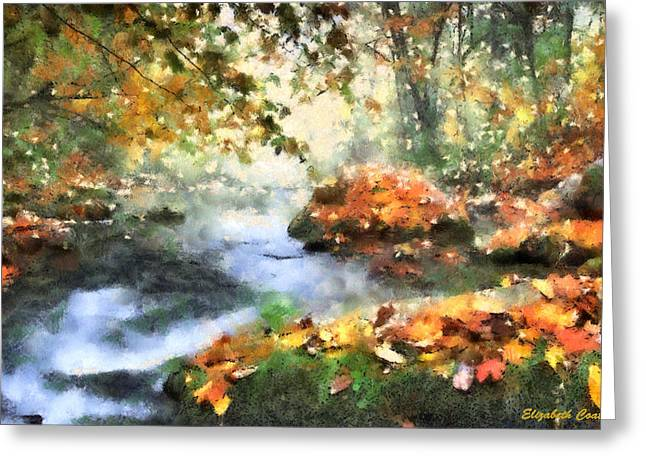 Autumn Leaf On Water Drawings Greeting Cards - North Carolina Autumn  Greeting Card by Elizabeth Coats