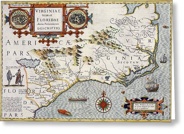 Va Greeting Cards - North Carolina Greeting Card by Jodocus Hondius