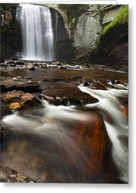 Pisgah Greeting Cards - North Carolina Waterfall Greeting Card by Andrew Soundarajan