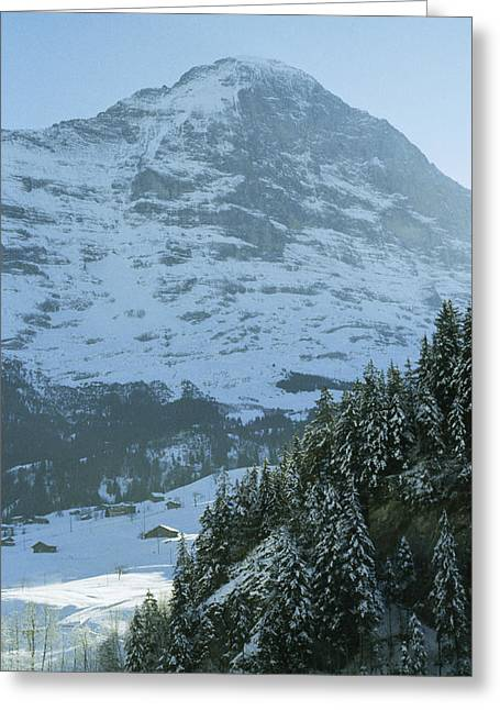 Swiss Greeting Cards - North Face Of The Eiger Towers Greeting Card by Gordon Wiltsie