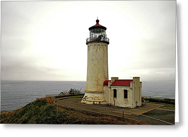 Hazy Days Greeting Cards - North Head Lighthouse - Graveyard of the Pacific - Ilwaco WA Greeting Card by Christine Till