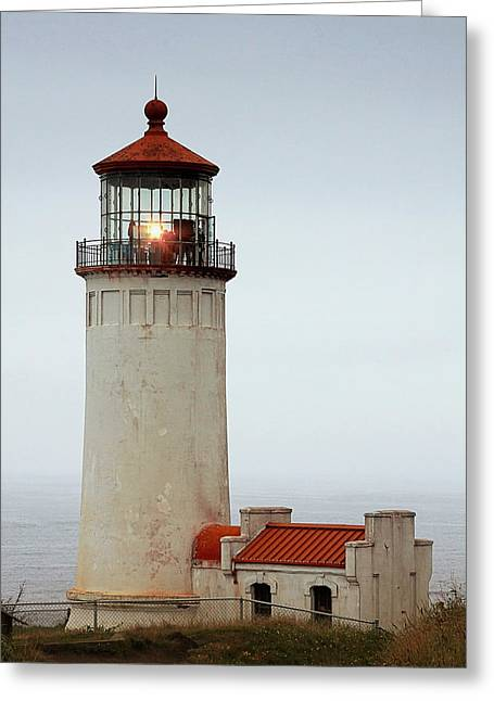 Hazy Days Greeting Cards - North Head Lighthouse - Ilwaco on Washingtons Southwest Coast Greeting Card by Christine Till