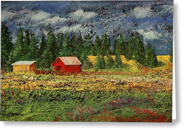 Barn Pastels Greeting Cards - North Idaho Farm Greeting Card by David Patterson