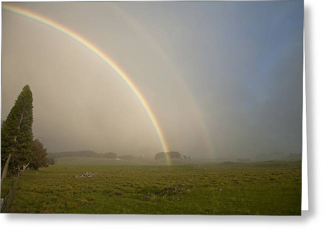 Double Rainbow Greeting Cards - North Kohala Rainbow Greeting Card by Peter French