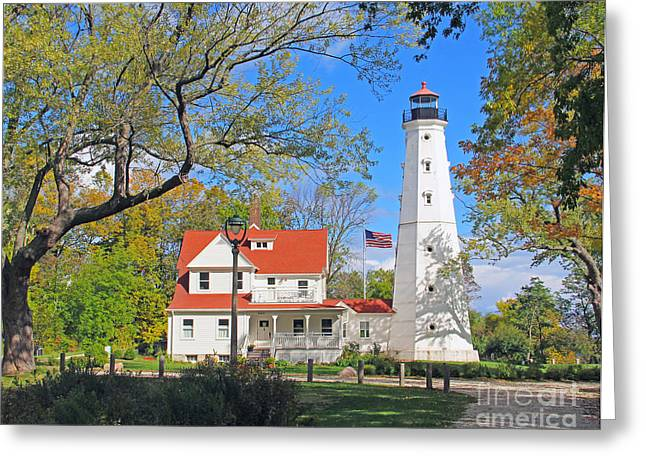 North Point Greeting Cards - North Point Lighthouse Greeting Card by Jack Schultz
