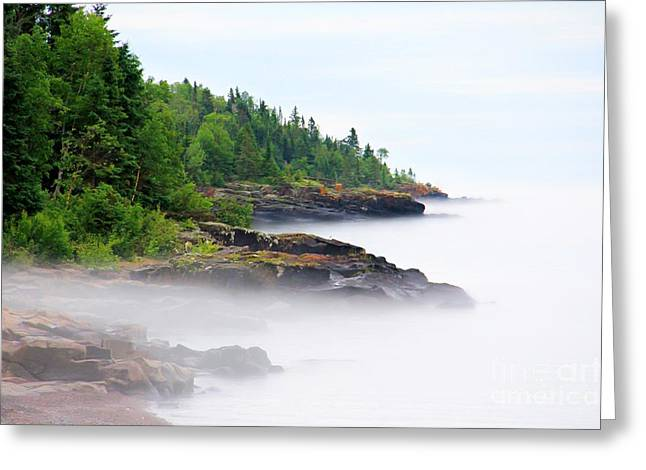 Minnesota Fishing Greeting Cards - North Shore Fog Greeting Card by Perry Webster