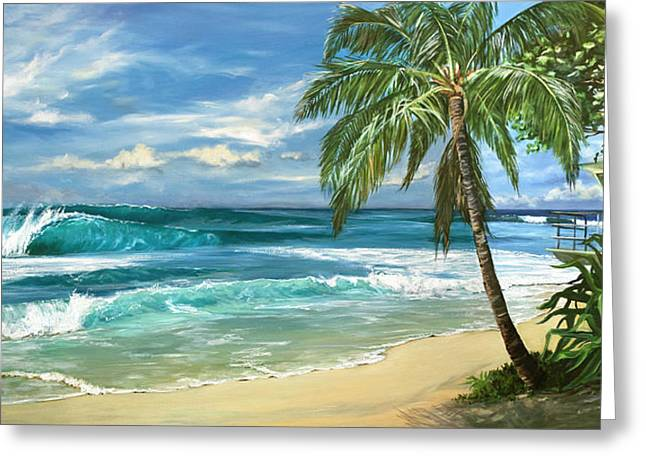 Big Wave Surfing Greeting Cards - North Shore Greeting Card by Lisa Reinhardt