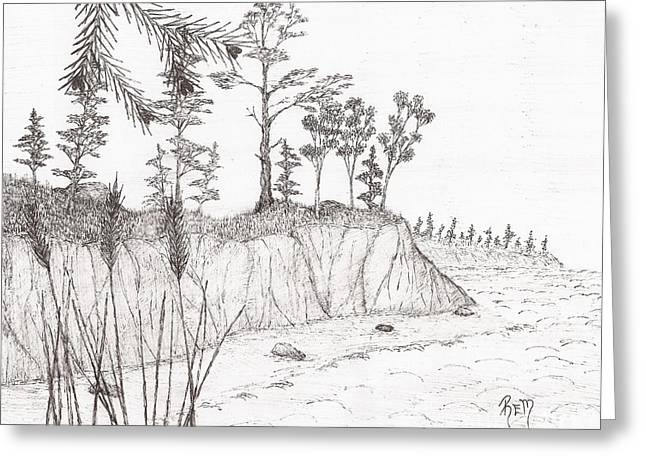 North Shore Memory... - Sketch Greeting Card by Robert Meszaros