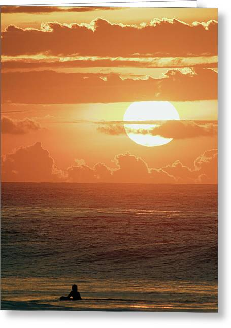 Amazing Sunset Greeting Cards - North Shore Surfer Silhouetted Greeting Card by Vince Cavataio - Printscapes