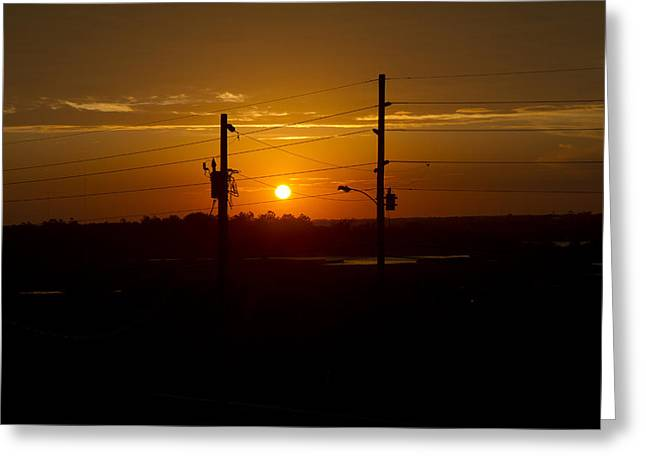 Powerline Greeting Cards - North Topsail Sound Closing Time Greeting Card by Betsy C  Knapp