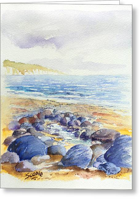 Pebbles Greeting Cards - North Wales Waves Greeting Card by Merv Scoble