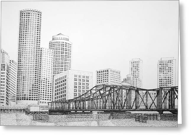 New England Ocean Drawings Greeting Cards - Northern Avenue Bridge - Boston Greeting Card by Tim Murray