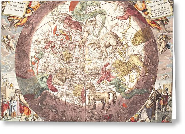 Macrocosmica Greeting Cards - Northern Boreal Hemisphere From The Celestial Atlas Greeting Card by Pieter Schenk