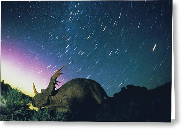 Dinosaur Provincial Park Greeting Cards - Northern Lights And Meteor Trails Greeting Card by Jonathan Blair