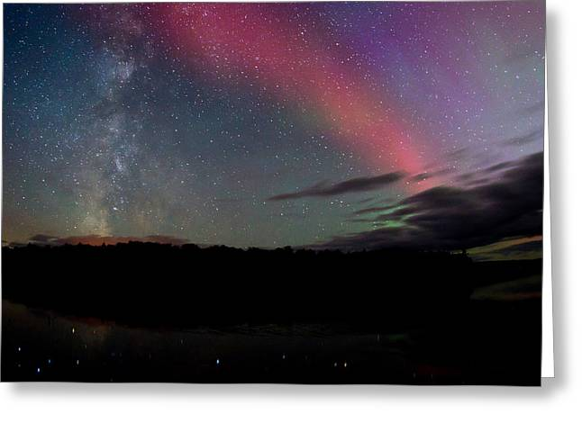 Aurora Lake Greeting Cards - Northern Lights and the Milky Way Greeting Card by Cale Best