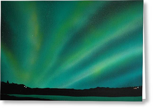 Northern Lights Cabin 3 Greeting Card by DC Decker
