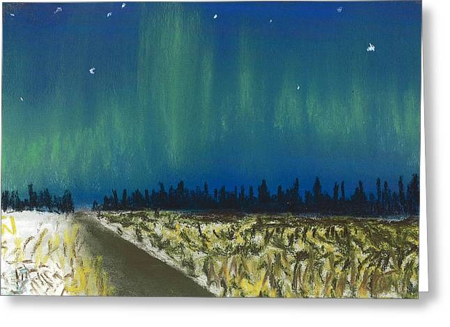 Amazing Pastels Greeting Cards - Northern Lights Road Trip Greeting Card by Jackie Novak