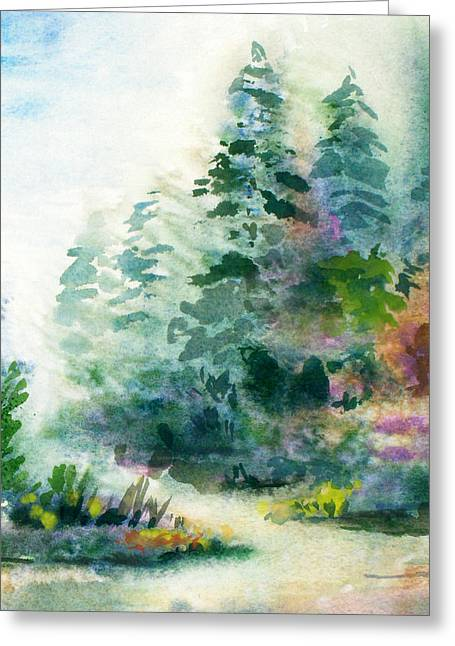 Wet In Wet Watercolor Greeting Cards - Northern Spring Greeting Card by Kristine Plum