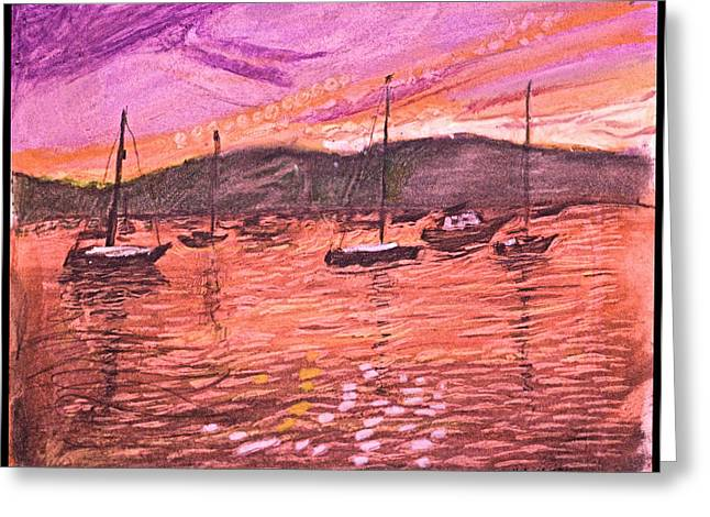 North Shore Drawings Greeting Cards - Northport Harbor Dusk Greeting Card by Don Schaeffer