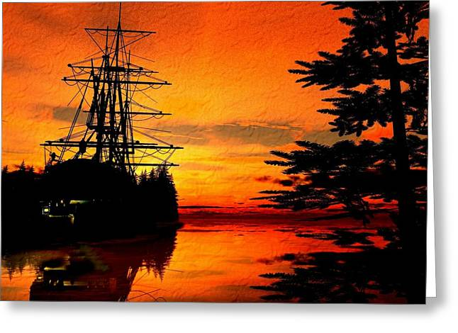 Tall Ships Greeting Cards - Northwest Anchorage Greeting Card by Timothy McPherson