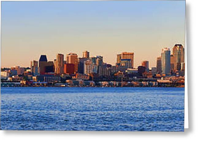 Panoramic Ocean Greeting Cards - Northwest Jewel - Seattle Skyline Cityscape Greeting Card by James Heckt
