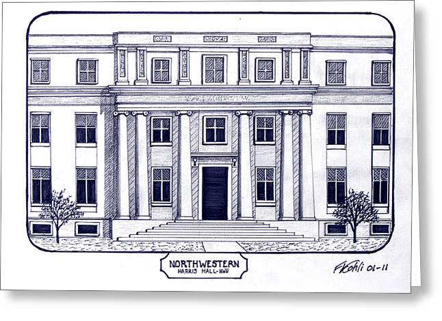 College Campus Drawings Greeting Cards - Northwestern Greeting Card by Frederic Kohli