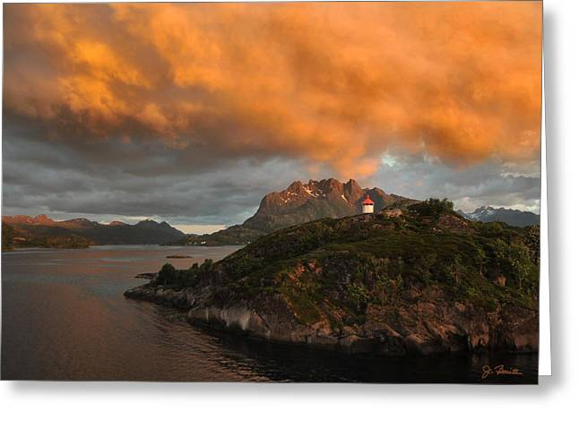 Best Sellers -  - Norwegian Sunset Greeting Cards - Norwegian Coast No. 6 Greeting Card by Joe Bonita