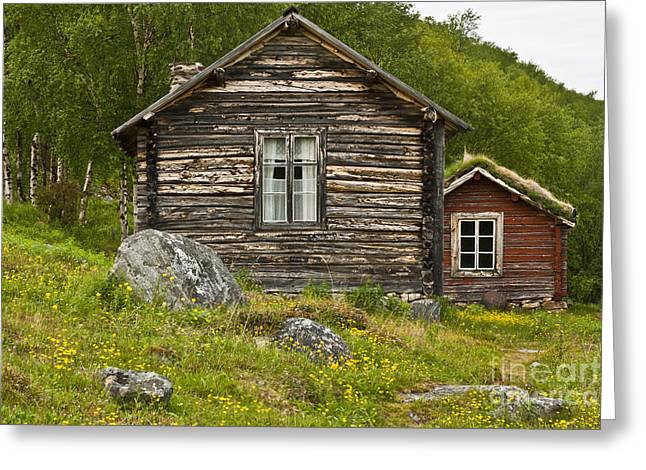 Frame House Photographs Greeting Cards - Norwegian Timber House Greeting Card by Heiko Koehrer-Wagner