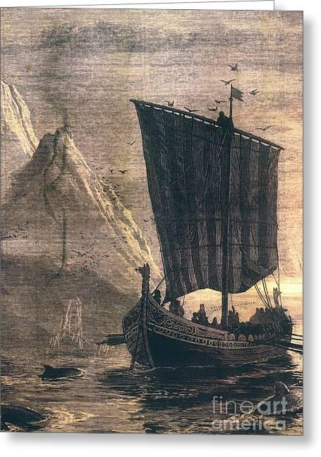 Ocean Sailing Greeting Cards - Norwegian Viking Longship Greeting Card by Granger
