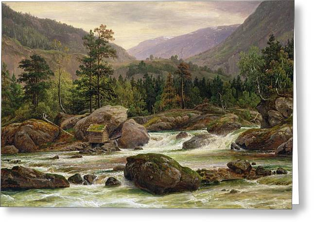 Rushing Water Greeting Cards - Norwegian Waterfall Greeting Card by Thomas Fearnley